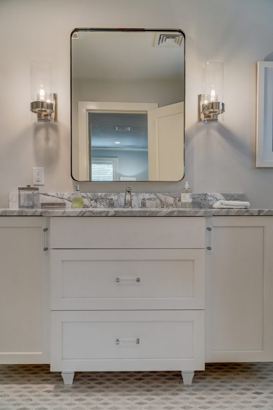 Vanity, mirror and lights in bathroom