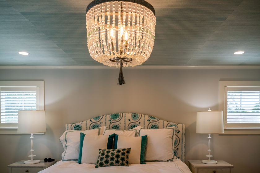 Bedroom with chandelier